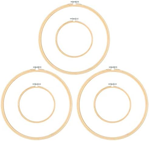 Pllieay 6 Pieces 2 Size Embroidery Hoops 5 Inch and 10 Inch Cross Stitch Hoop for DIY Art Craft product image
