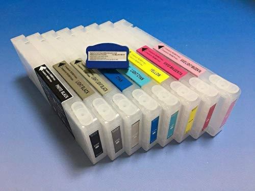 Cartucho de tinta recargable vacío 100% 350 ml con chip reajustable para Epson Stylus Pro 7880 9880 con chip resetter