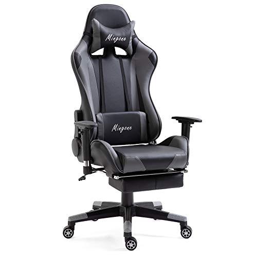 Mingone Essentials Gaming Stuhl Racing Stuhl Computerstuhl Chefsessel Höhenverstellbarer Schreibtischstuhl Ergonomisches Design mit Verstellbaren Armlehnen und Wippfunktion (Grau)