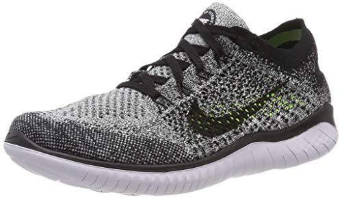 Nike Men's Free RN Flyknit 2018 Running Shoes (10, Black/White/Black)