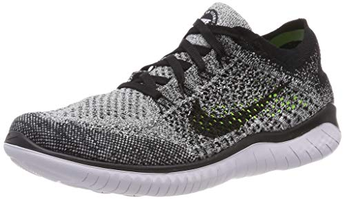 Nike Men's Free RN Flyknit 2018 Running Shoes (10.5, Black/White/Black)