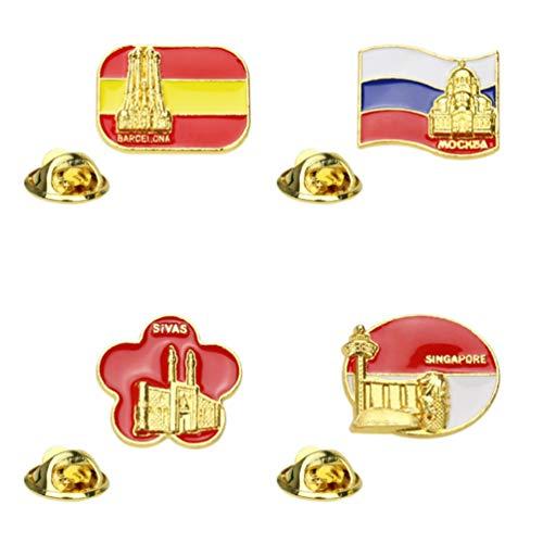 PRETYZOOM Emaille Brosche Pin Spanien Italien Land Flagge Und Gebäude Brosche Pin Europa Budget Reise Souvenir Europa Party Bevorzugt 4 Stück (Gemischter Stil)