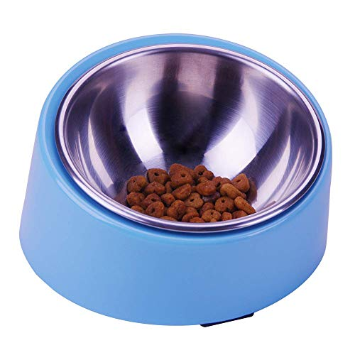 Super Design Mess Free 15° Slanted Bowl for Dogs and Cats, Tilted Angle Bulldog Bowl Pet Feeder, Non-skid & Non-spill, Easier to Reach Food S/0.5 Cup Light Blue