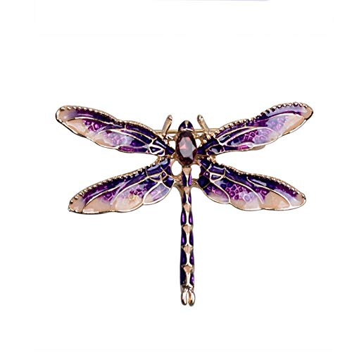 Shulishishop Broches para Ropa Mujer Broches De Bisuteria Broche de libélula Las Mujeres broches Insecto Broche Las Mujeres Broche Pin De Broche de joyería Purple