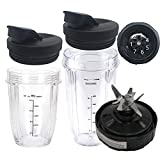 5pcs replacement parts blade with 18oz 24oz cup and lid for 1500W Ninja Duo Auto IQ Blender BL640 30/BL641 30/BL642 30/ BL680 30 BL680A 30 BL681 30 BL681A 30 BL682 30/ BL687CO 30/BL685 30 / BL688 30