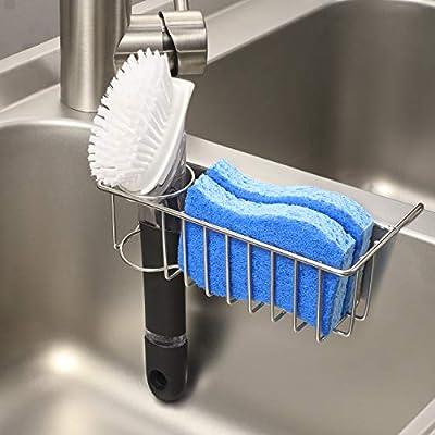 [Save Sink Space] 2-in-1 Kitchen Sink Caddy Sponge Holder + Brush Holder, Small In-sink Dish Sponge Caddy, 304 Stainless Steel Rust Proof, Hanging Kitchen Sink Organizer Rack Basket
