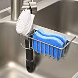 [Save Sink Space] 2-in-1 Kitchen Sink Caddy Sponge Holder + Brush Holder, Small In-sink Dish Sponge Caddy, 304 Stainless Steel Rust Proof, Hanging Kitchen Sink Organizer Rack Basket
