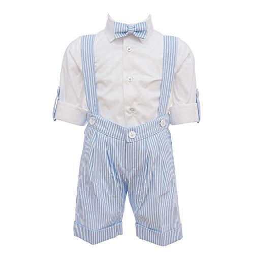 BUFI Juego de ropa de cama elegante de algodón con estampado a rayas celeste/blanco B5111A azul celeste 12 Months