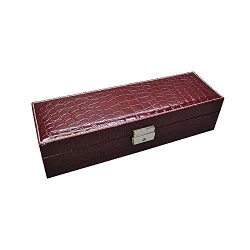 FIONAT Uhrenbox Schmuckkästchen Pu Leder Aufbewahrungsbox Transparentes Glas Uhr Mit Schloss Display Schmuckschatulle, [Sechs Sitze] Kaffee