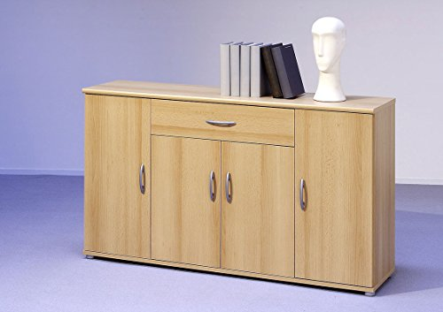 Sideboard Kommode Anrichte Mehrzweckschrank Highboard Schrank Lilly 13 Varianten mit 4 Türen, 1 Schubkasten und 3 Regalböden, 117 cm breit (Buche)