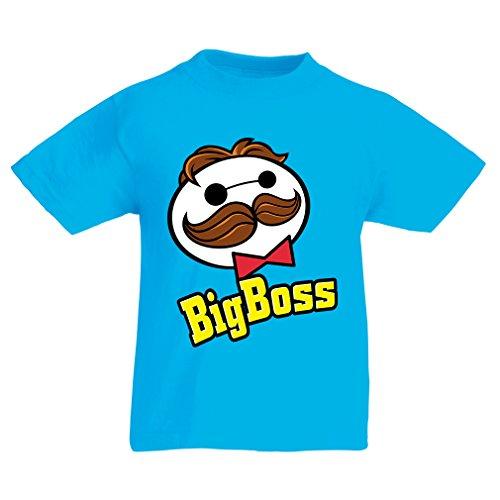 N4521K La Camiseta de los niños Big Boss (9-11 Years Azul Multicolor)