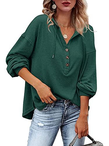 ABINGOO Mujer Sudaderas con Capucha Casual Sudadera Manga Larga Sweatshirt Suelto Oversize Invierno Otoño Suéter Pullover Tops(Verde,L)