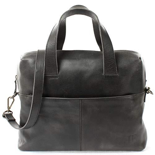 LECONI Schultertasche Henkeltasche für Frauen Büffel-Leder DIN-A4 Businesstasche Handtasche Shopper für Damen 36x26x12cm dunkelgrau LE0059-buf