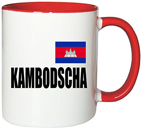 Mister Merchandise Kaffeetasse Kambodscha Fahne Flag Teetasse Becher, Farbe: Weiß-Rot