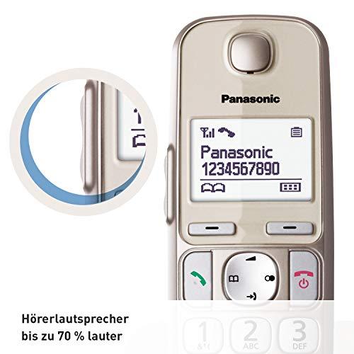 Panasonic KX-TGE210GN DECT Seniorentelefon (schnurlos, hörgerätekompatibel, Großtastentelefon, strahlungsarm/ Anrufersperre) champagner