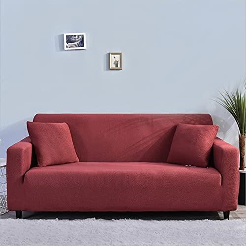 ABUKJM Fundas Sofa Elasticas Universal,Tela Impermeable Seersucker,Todo Incluido,para Fundas para Sofa Dormitorio Sala De Estar,Adecuada para La Mayoría De Los Sofás (Red Brown,2 Seater 135-175cm)