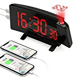 Projection Alarm Clock for Bedroom with [5 Dimmer], PEYOU Digital Clock 7' LED Display, 2 USB Chargers, 180° Rotable Projector, Snooze, Bedside Loud Dual Alarm Clock for Heavy Sleepers Adults Kids