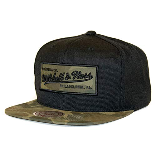 Mitchell & Ness Own Brand Camo Fill Adjustable Snapback Cap (Black) (One Size)