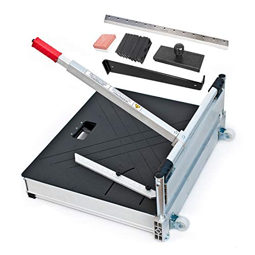 Schnittbreite 480 mm - Der BAUTEC PROFI Laminatschneider - Parkettschneider inkl. 2 Klingen, Rollen und Teleskophebel und 18teiligem Verlege Set