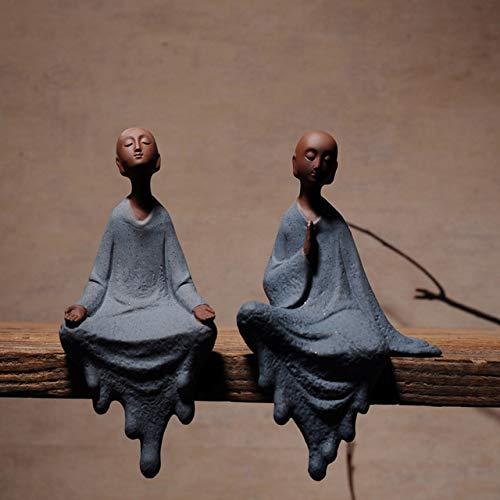 JIAXIN Esculturas Decorativas Arcilla Púrpura Monje Buda Estatuas SentadasZen Adornos Creativos Decoración...