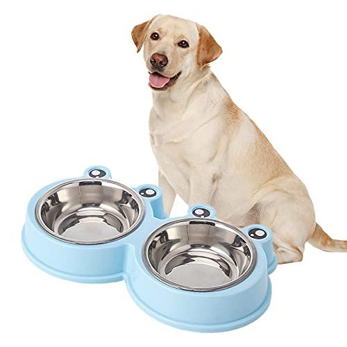 Ciotola per Gatti in Acciaio Inossidabile Antiscivolo Ciotole doppie super grandi Rimovibile Doppia Alimentazione Ciotola Per l'alimentazione degli animali domestici, doppia ciotola. (blu)