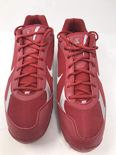Nike New Shox Fuse Baseball Cleats Metal Red/White/Silver Size 15 Men