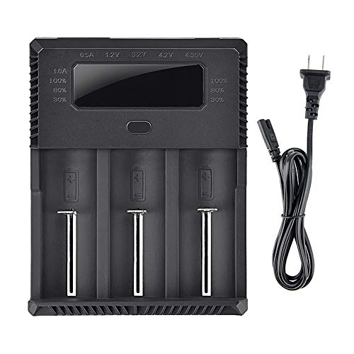TrustFire TR-018 AAA AA Battery Charger 32650 Universal Battery Charger - 3 Slots for IMR 3.7V 10440 18650 and 1.2V Ni-MH AA AAA, AC 100-240V / 5.5mm DC 12V Output (Battery Not Included)