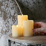 Festive Lights - (Lot de 3 Bougies LED Effet Flamme Vacillante en Cire...