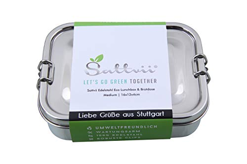 Sattvii Edelstahl Lunchbox Brotdose mit L-Lock Medium 800 ml Essensbox TÜV geprüft I Bestes Meal Prep I Box bpa frei I Jausenbox Frühstücksbox Brotbüchse Brotzeitbox