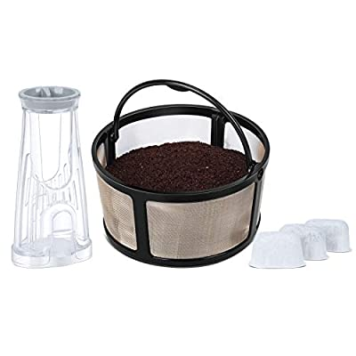 Reusable Mesh Ground Coffee Filter and Small Filter Holder with 3 Water Filters, Basic Essentials kit for Keurig K-Duo Essentials and K-Duo Brewers Machine