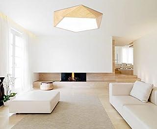 GQLB Lámpara de techo lámpara de techo de madera de hierro 420*420*100MM, luz cálida