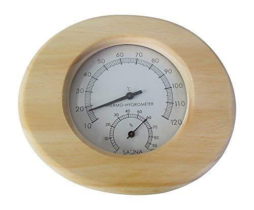 Relsuna Sauna Thermometer und Hygrometer aus Massivholz in oval