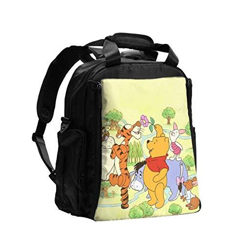 Martha Lattimore Bolsa de pañales Mochila Winnie The Pooh Mochila de viaje multifunción Bolsa de hombro Bolsa de maternidad para pañales con cambiador