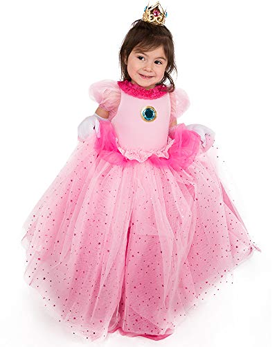 Coskidz Children's Princess Peach Cosplay Costume with Crown (Pink)