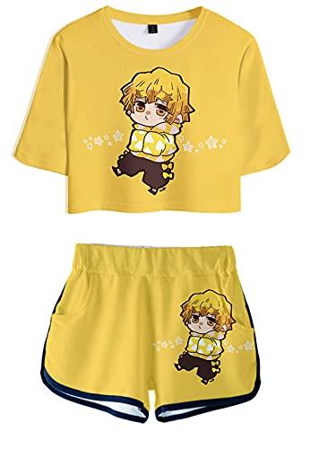 Hifoda T-shirt e Pantaloncini Stampa 3D Demon Slayer Set di Moda Anime Cosplay Estivi Kimetsu no Yaiba Estate per Ragazze e Donna(M)