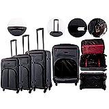 Juego de 3 maletas de viaje, dos compartimentos frontales con cremallera y compartimento principal con forro interior,...