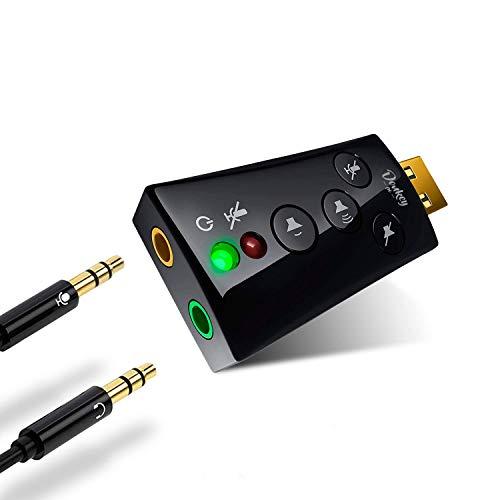 Donkey pc – Tarjeta de Sonido USB 7.1 Adaptador USB a Jack 3.5 mm. Tarjeta de Sonido Externa y Adaptador de Auriculares y micrófono a USB para pc. Adaptador de Audio USB 2.0.