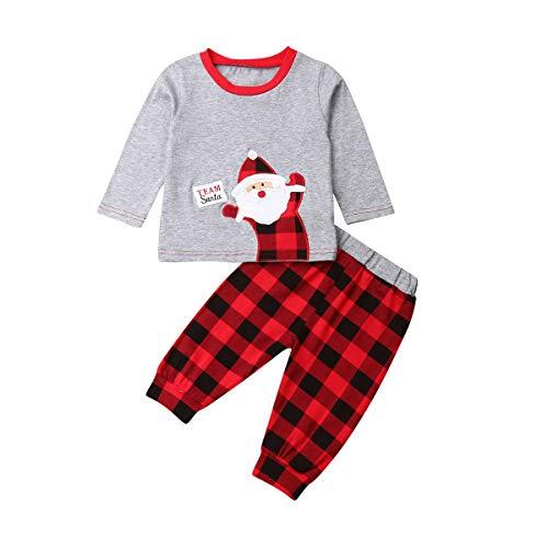 Completo di Natale per Neonati Unisex 3 Pezzi Maglietta a Maniche Lunghe Stampata di Babbo Natale + Pantaloni Lunghi + Cappello Casual Carino 0-18 Mesi (Babbo Natale-Grigio(2 pezzi) , 3-6 mesi )