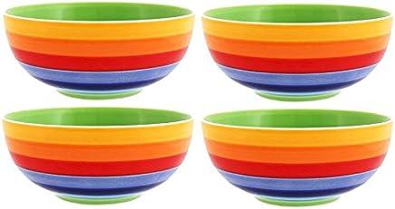 Preisvergleich für Windhorse Set von 4Regenbogen gestreift Keramik Schalen