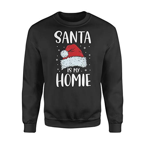 Santa is My Ho.mie Sweet Santa Hat Christmas Men Women - Standard Fleece Sweatshirt - Front Print Sweatshirt for Men and Woman.