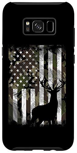 Galaxy S8+ Camo American Flag Deer Elk Buck Hunting USA Hunter Gift Case