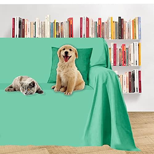 Byour3®️ Sofa Couch 2 3 4 5 Sitzer Schutz vor Haustieren Wasserdicht Sofabezug l u Form Ecksofa Anti-Kratze Hunde Katzen Kinder Sofaschoner einfarbige sofaüberwurf Abwaschbar (Wassergrün 300x300 cm)