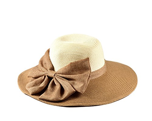 Miuno® Damen Sonnenhut Partyhut Stroh Hut Schleife H51041 (Camel)