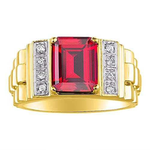 RYLOS Designer Emerald Cut Red Ruby & Diamond Ring - July Birthstone
