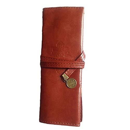Bolsa de lápiz Bolsa de la Pluma de la Vendimia del Cuero 21x8cm Brown Rueda para Arriba la Caja de Almacenamiento de Escritorio Retro para la Oficina de la Escuela, Caja de Cuero del lápiz Rollo