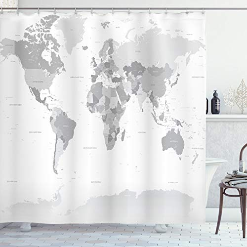ABAKUHAUS Grau Duschvorhang, Weltkarte Kontinent Erde, mit 12 Ringe Set Wasserdicht Stielvoll Modern Farbfest und Schimmel Resistent, 175x180 cm, Weiß Grau