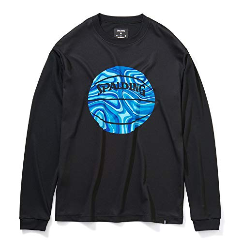 SPALDING(スポルディング) バスケットボール ロングスリーブTシャツ ネオンマーブルボール SMT201080 ブラック XLサイズ バスケ バスケット
