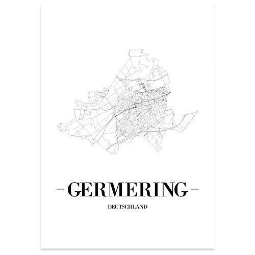 JUNIWORDS Stadtposter - Wähle Deine Stadt - Germering - 60 x 90 cm Poster - Schrift A - Weiß