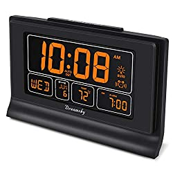 DreamSky Auto Set Digital Alarm Clock with USB Charging Port, 6.6 Inches Large Screen with Time/Date/Temperature Display, Full Range Brightness Dimmer, Auto DST Setting, Snooze.
