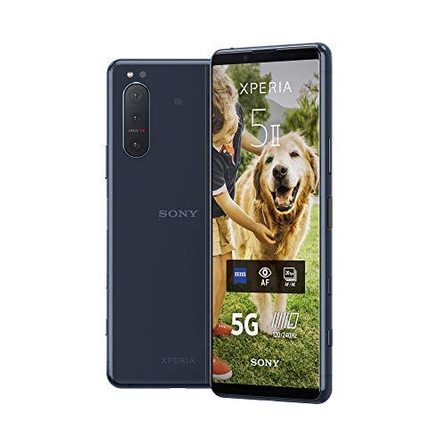 Sony Xperia 5 II 5G Smartphone (15,5 cm (6.1 Zoll) 21:9 CinemaWide FHD+ HDR OLED-Display, Dreifach-Kamera-System, 3,5-mm-Audio-Anschluss, Android 10, SIM Free, 8 GB RAM, 128 GB Speicher) Blau